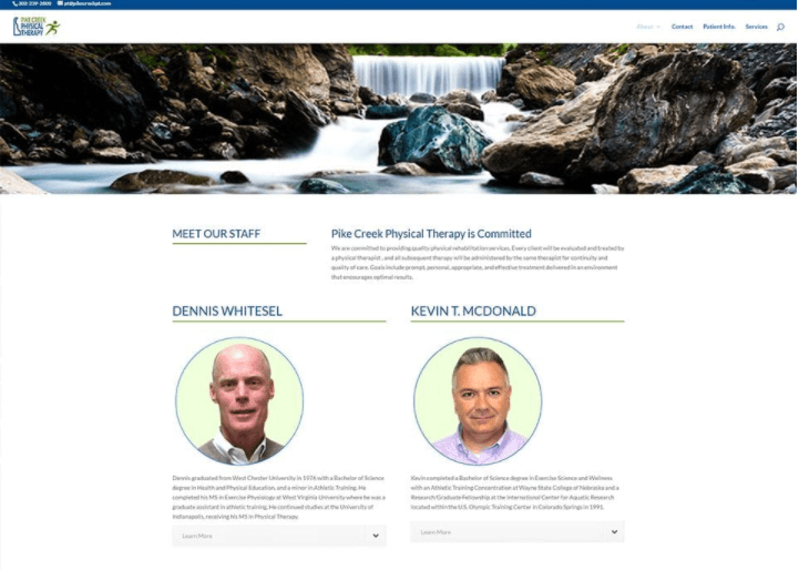 Pike Creek Physical Therapy website design sample   field1post.com